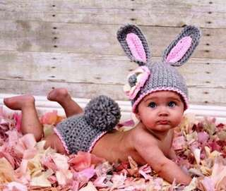 Gray and Pink Rabbit infant Crochet Hat And Diaper Set Knitted New born Rabbit Costume photography Props 0-6mount intl