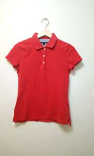 Two Tommy hilfiger polo red pink shirts