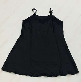 Black Satin Night Wear Dress