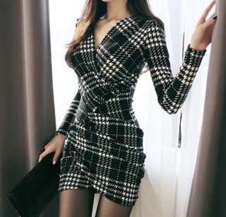 PO - Office Plaid V-Neck Long Sleeve Bandage Bodycon Dress