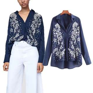 Loose fitting Summer Fashion Flower Print Embroidered Lapel Long Sleeve Shirt