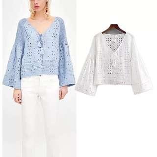 🌷 Summer Embroidery Embroidered Solid V-neck V-neck Shirt Top🌷
