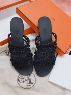 Hermes Shoes 黑色膠拖鞋 36號