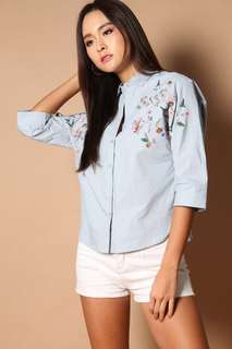 The Stage Walk Hendrix Floral Embroidery Shirt in Light Blue
