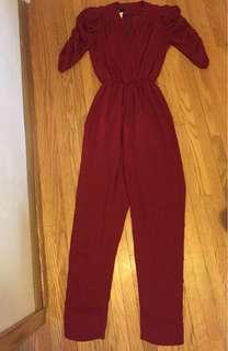 Vintage red romper pantsuit