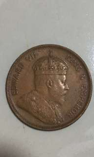 Straits settlements 1 cents 1908