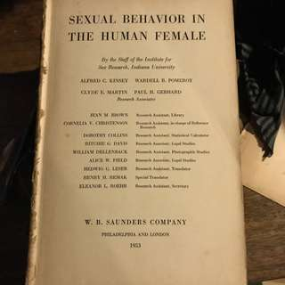 Sexual Behaviour in the Human Female - Alfred Kinsey First Edition 1953
