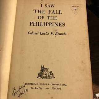 I saw The Fall of the Philippines  1945 Carlos P Romulo