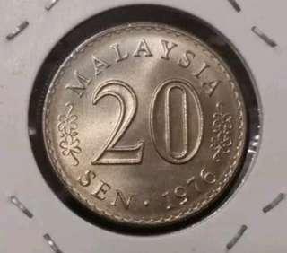 ☆BU☆ Malaysia Parlimen 20cent 1976.    #20under