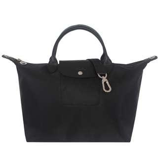 【Longchamp】Le pliage Neo 厚質尼龍布短帶水餃包/斜背包(黑色/中)