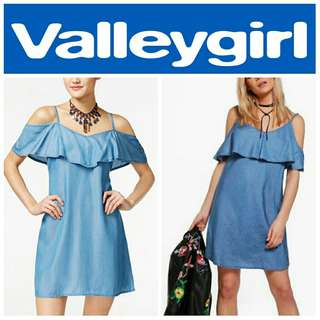 -Yunik- Valleygirl Cold Shoulder Soft Denim Dress