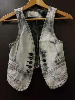 Acid-washed Casual Vest (Grey)