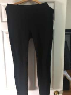 Zara black leggings with dark blue velvet strip