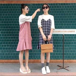 🚚 ◌ 深藍色 韓版 假兩件格子拼接裙