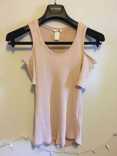 Cold shoulder light pink top