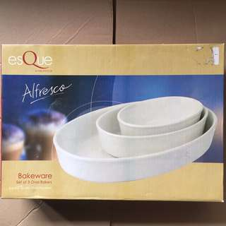 Esque bakeware - set of 3 oval bakers