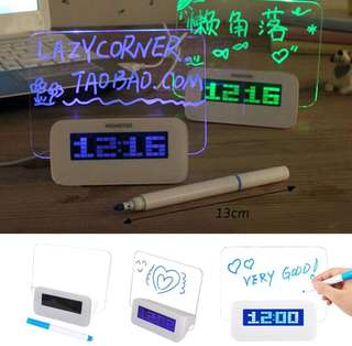 Table Desktop Message Board LED Alarm Clock Digital Calendar