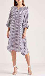 Scanlan Theodore striped roll sleeve dress