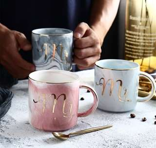 Marble Ceramic Mugs Gold plating Mrs Mr Couple Lover Gift cup milk coffee