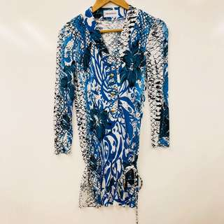 Emilio Pucci blue and white long top size F36