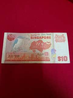 Singapore Old Bank Note 10 Dollar