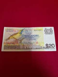 Singapore Old Bank Note 20 Dollars