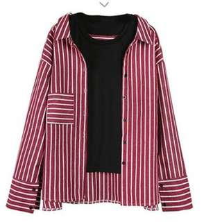 [PO] Ulzzang Red striped blouse