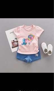 Instock Unicorn top tee pants set girl baby kid toddler