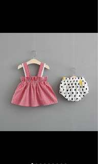 Instock Baby girl top bloomer set infant toddler