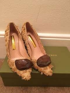New Rupert Sanderson Wooden Pebble Block Heels 37