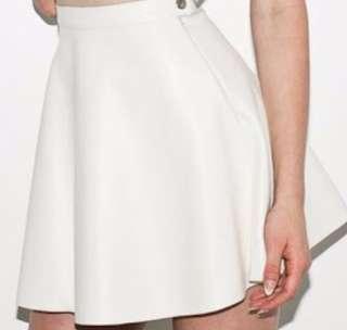 Lamb skin white skirt