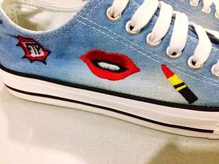 💋💄 Patched Denim Sneakers Rubber Shoes