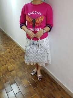 Alaia white leather cute small handbag