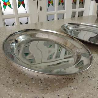 2 Oval Stainless Steel Tray