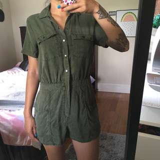 Abercrombie and Fitch Khaki jumpsuit S