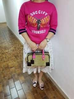 Loewe light green suede with pink leather handbag