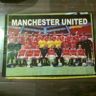 Manchester United Poster 1999/2000 曼聯海報23*16吋