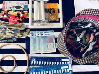 Huge collection of cross stitching/ embroidery work supplies