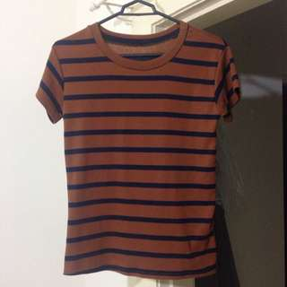 Striped T-shirt Brown And Black