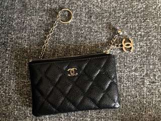 Chanel black caviar quilted coin / card purse