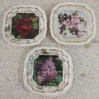 3 Original Fine China Decorative Plates