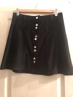 Black suede skirt with front buttons