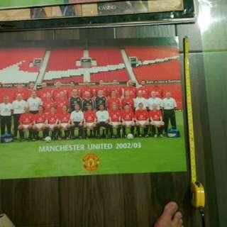 Manchester United Poster 2002/03 曼聯海報23*16吋