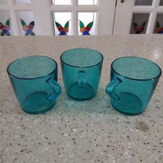 3 Green Drinking Glass