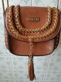Unisa vintage fashion sling bag with stud and tassels (brown)