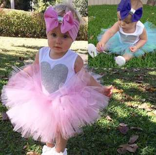 3pcs Romper Jumpsuit+Tutu Skirt+Headband
