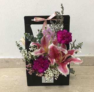 Bloom Box in Black with Pink Lilies and Purple Carnations / Mother's Day Bouquet