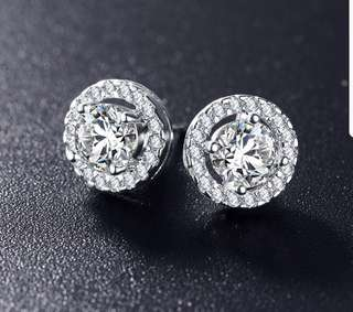 Diamond Earring White Gold Plated