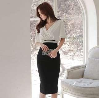 Black white off shoulder dress