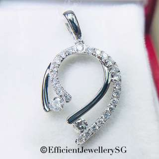 18K 750 White Gold Double Curl-in Pendant